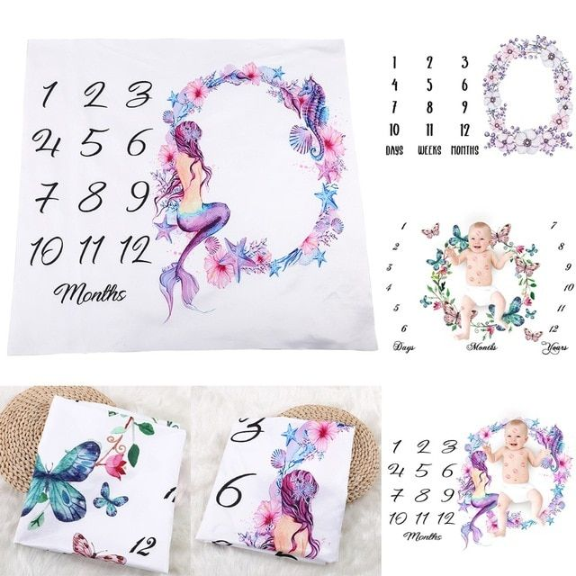Newborn Infant Baby Letter Milestone Blankets for Photography Photo Props Shoots