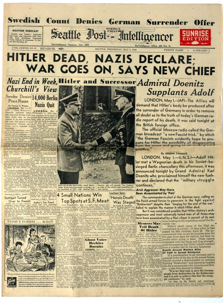 Seattle Post : Hitler Dead. seattle-pi-obituaries-death-6 - WAR HISTORY ONLINE http://www.warhistoryonline.com/war-articles/hitler-is-dead-here-is-how-the-front-pages-of-the-press-reported-it.html/2