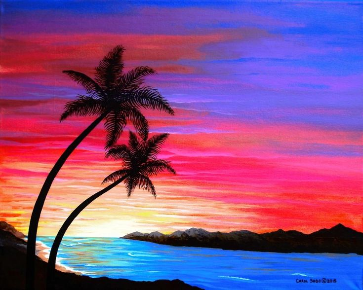 Tropical Sunset-Orig. painting by the artist, #Realism Medium 16x20 #Realism