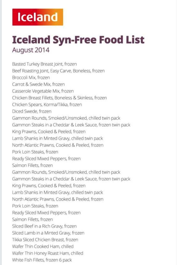 Slimming World - Iceland Syn-Free Food List