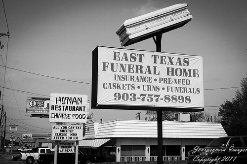East Texas Funeral Home and nearby Hunan Chinese Food Restaurant