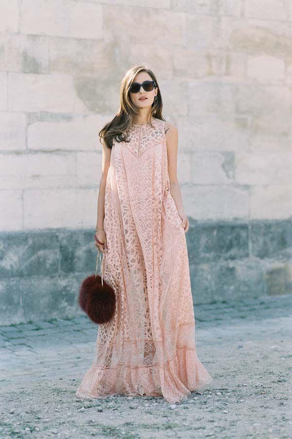 Pastel pink lace maxi dress