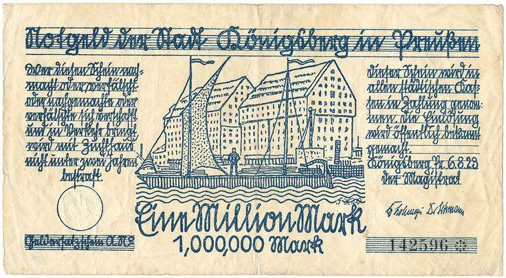 """Königsberg Pr.  Notgeld   """"Eine Million Mark""""!!!     1923"""
