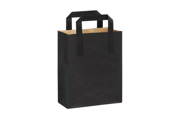 Mini bolsa de papel kraft negra con asa. Una elegante bolsas con un bonito diseño. Además, la puedes personalizar con el logo de tu empresa para más publicidad.