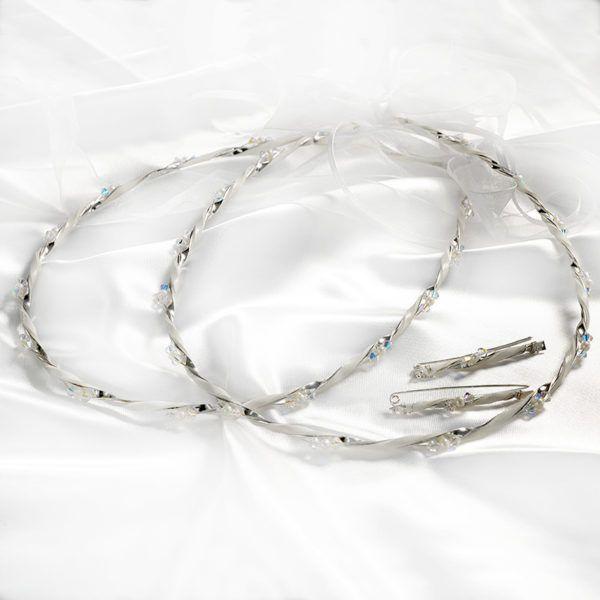 Στέφανα γάμου Ioannis collection ασημένια με πέτρες και μαργαριτάρια D-228L