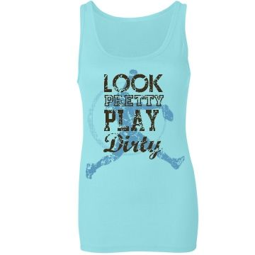 Play Dirty Softball Tank Junior Fit Bella Sheer Longer Length Rib Tank Top $25.97 #softball #fastpitch