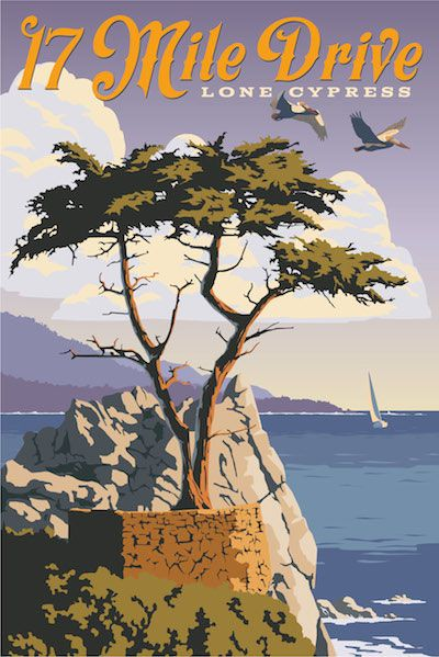 This Limited Edition Retro Travel Poster showcases 17 Mile Drive's magnificent, craggy coastline and ocean views between Monterey and Carmel.