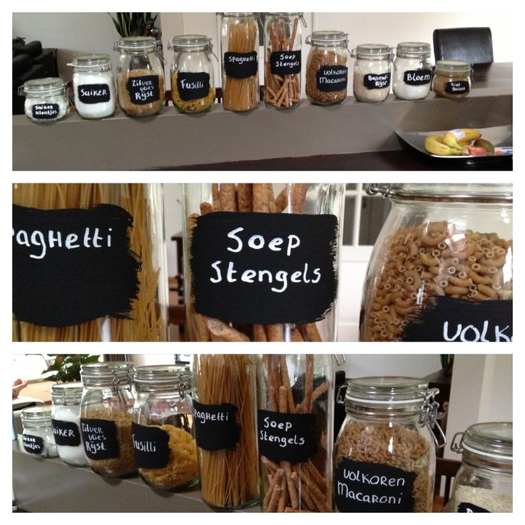 Project 1 voor nieuwe keuken is gedaan; wekpotten met schoolbordverf.