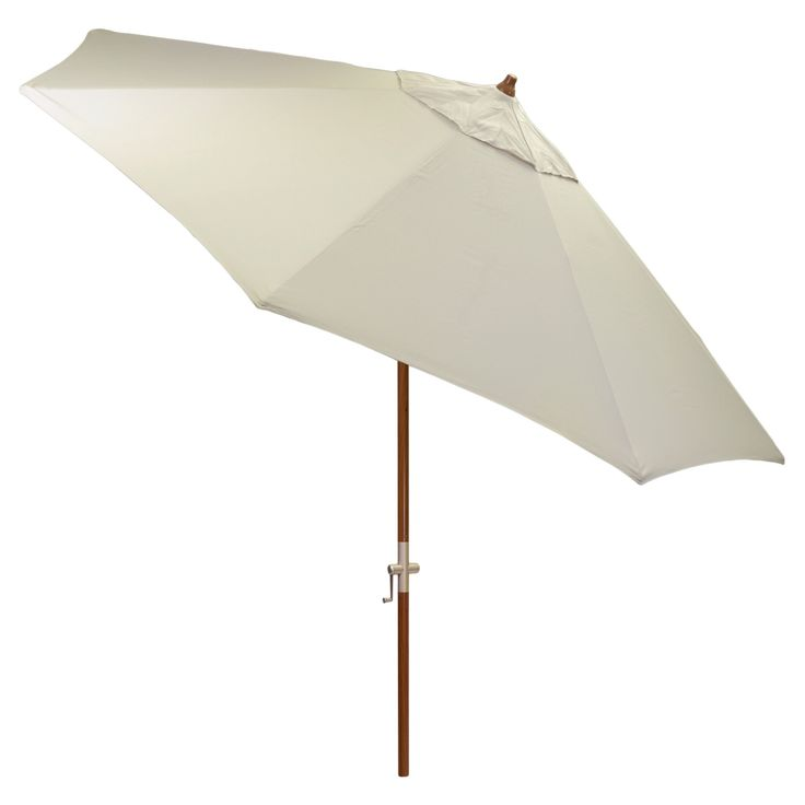 9' Round Sunbrella Umbrella - Canvas Canvas - Medium Wood Finish - Smith & Hawken