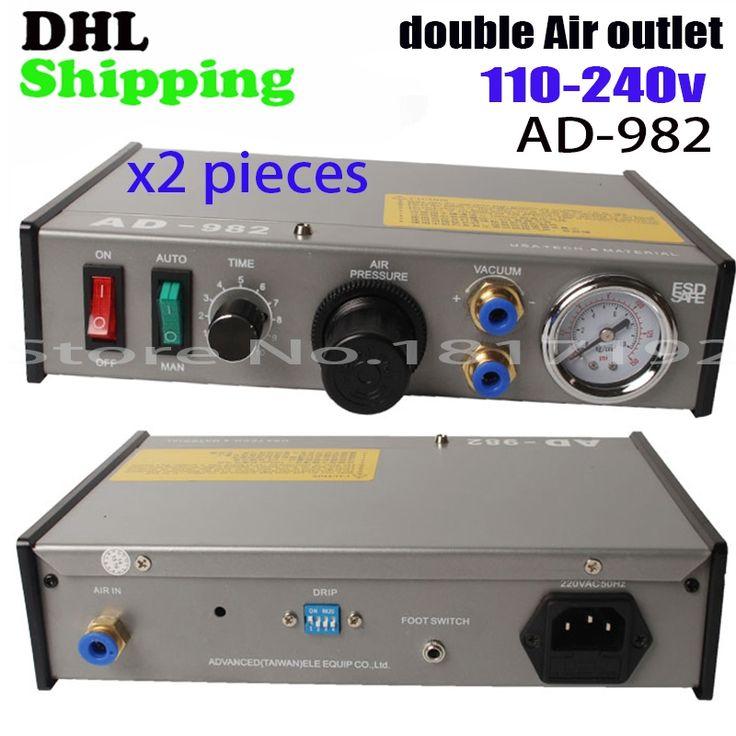 159.00$  Buy now - http://ali0dc.worldwells.pw/go.php?t=32727551923 - Freeshipping DHL dual hole 110v 220V AD-982 Semi-Auto Glue Dispenser PCB Solder Paste Liquid Controller Dropper Fluid dispenser