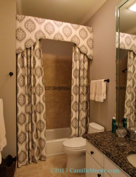 Shower curtain with cornice, design by Lori Paranjape, Fabrication by Camille Moore Window Treatments