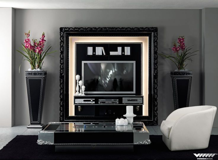 Tv stand with baroque frame in glossy black perfect for both classic and contemporary tv wall - Kleur trend corridor ...