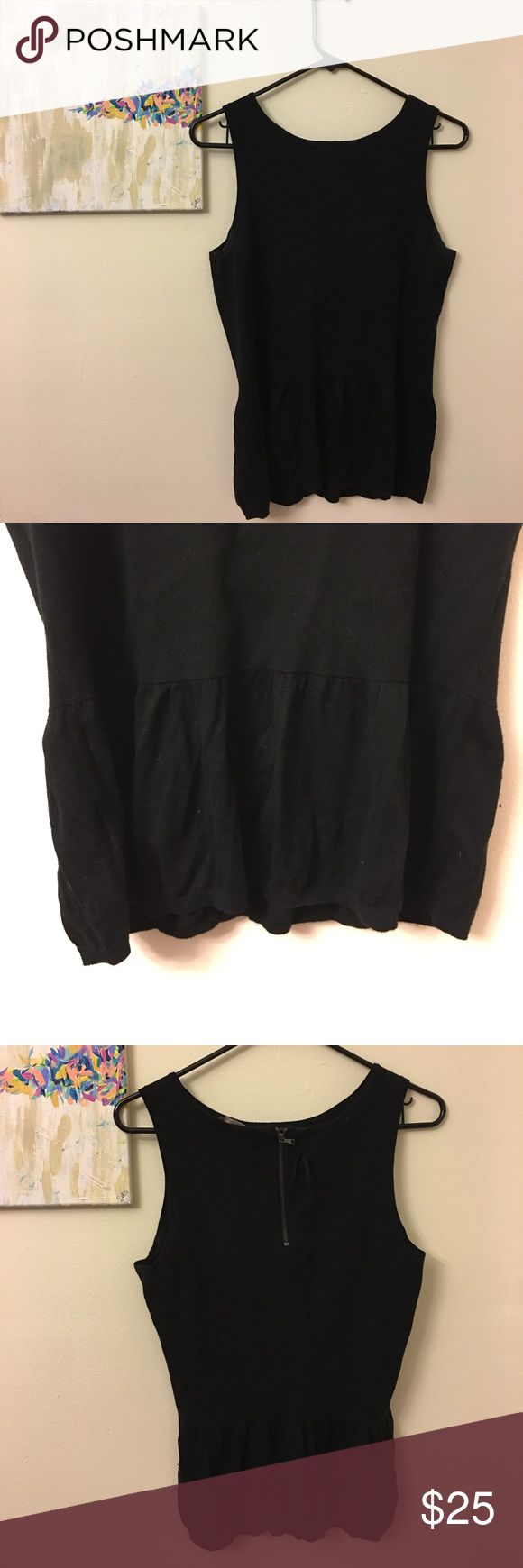 LOFT black peplum top In great condition, worn once! Top is thicker, more like a sweater, so super comfortable and cute with the peplum detail! Zips up back. LOFT Tops Tank Tops