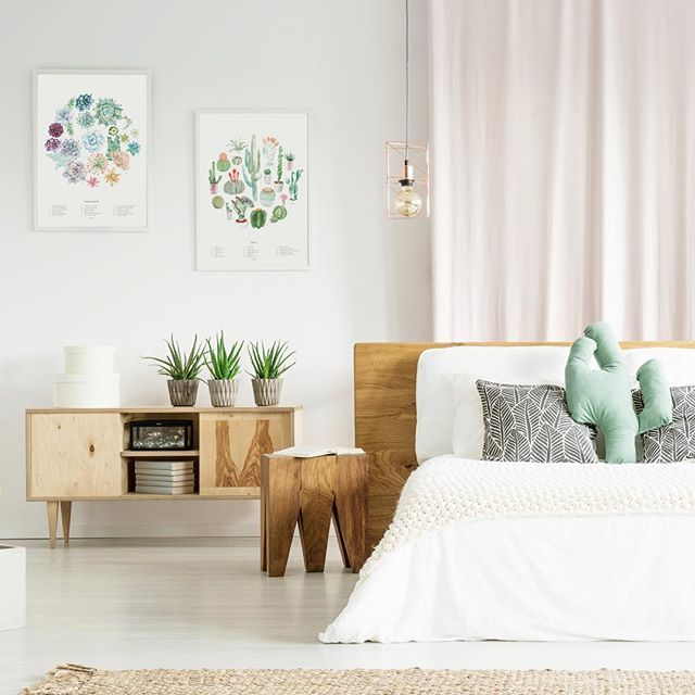 A Dreamy Cactus Themed Bedroom Featuring Our Succulent And Cactus Wheel Art Prints Bedroom Themes Gallery Wall Living Room Modern Vintage Decor