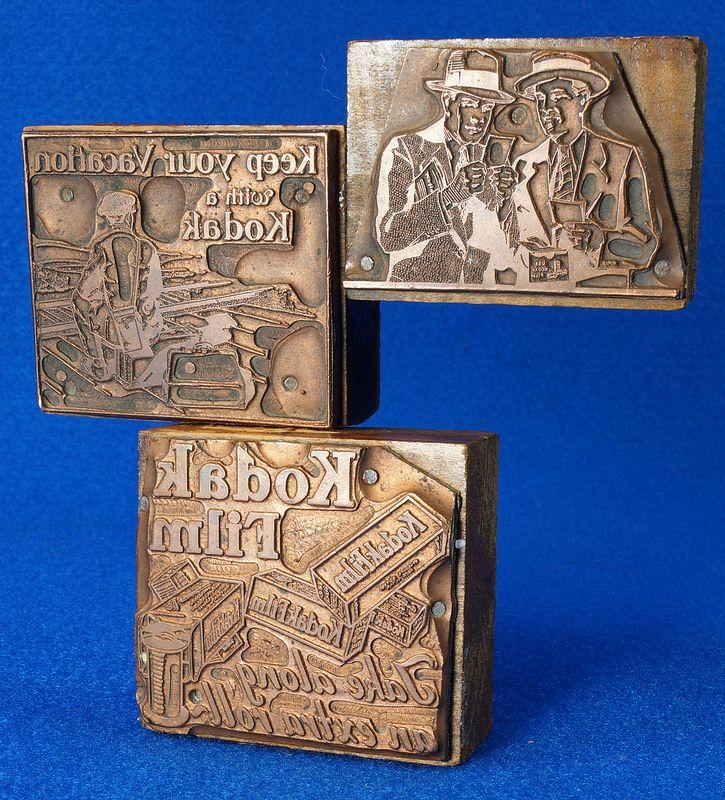 3 Vintage KODAK FILM Copper Letterpress Printer's Blocks Stamping Printing  eBay Link: http://www.ebay.com/itm/-/302082362011  RD14202  Go back to Tin Can Alley - FOR SALE: http://www.bagtheweb.com/b/PBdAfQ
