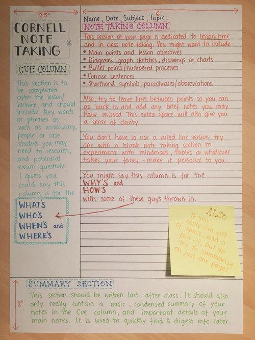 Cornell notes are the most commonly taught form of note taking in schools. When pairing this style of notes along with clue triggering colors provides a more effective way of taking notes.