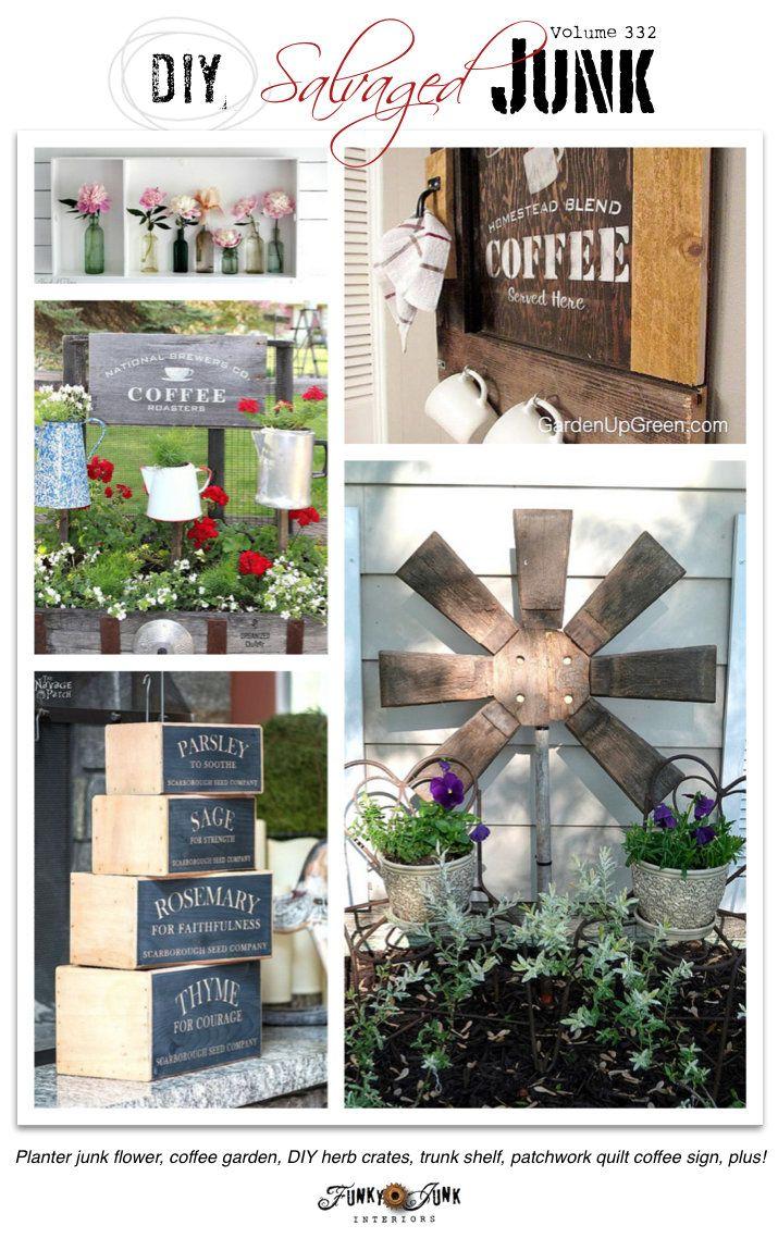 PJ 332 - DIY salvaged junk - DIY herb crates, coffee junk garden, patchwork quilt coffee sign, chair back garden flag, salvage style boy's bedroom, plus!