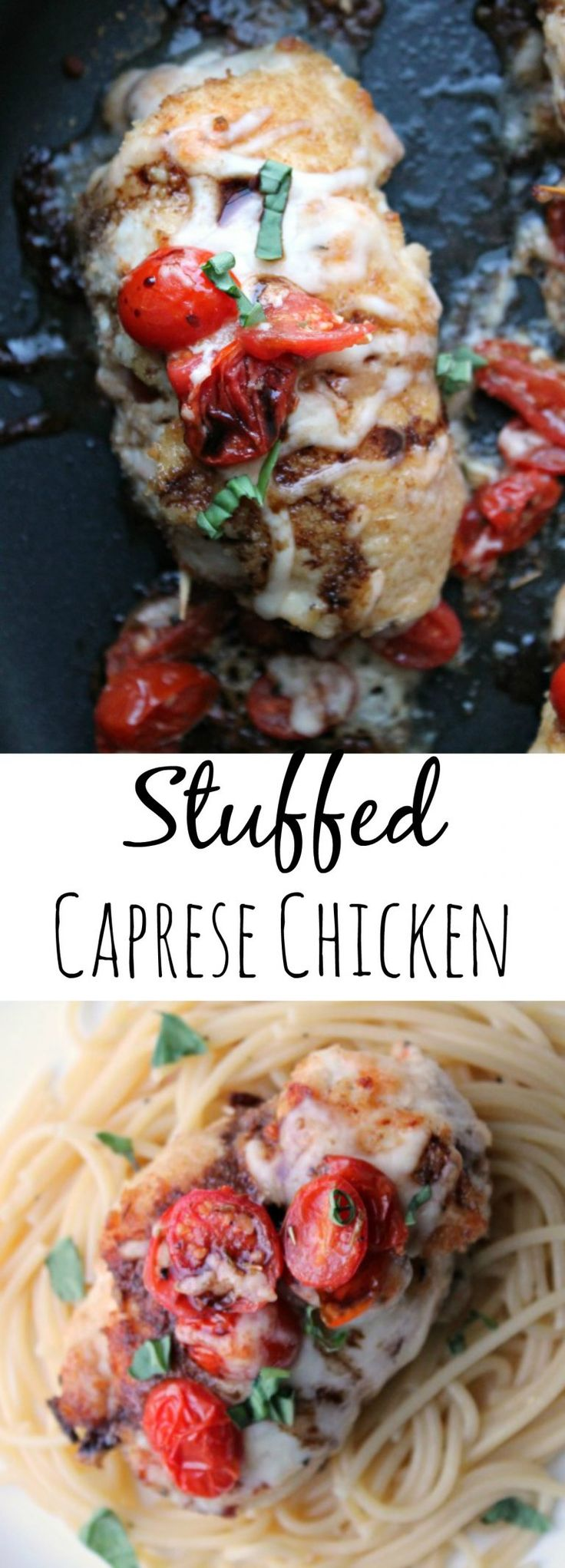 STUFFED CAPRESE CHICKEN by http://foodyschmoodyblog.com Chicken stuffed with tomatoes, basil and mozzarella; rolled in breadcrumbs and cooked to perfection!