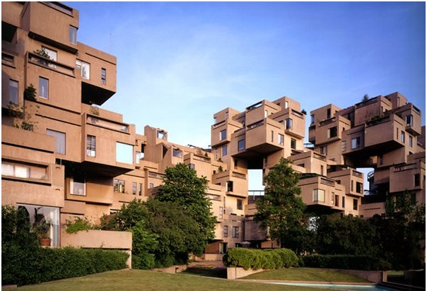 Habitat 67 in Montreal, Quebec by Moshe Safdie. A pre-fabricated, modular affordable housing development.