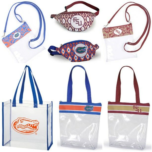These adorable clear Stadium Bags are required for football games!  Get yours while supplies last! #WalkOnWaterBoutiques #GameDayClearBags