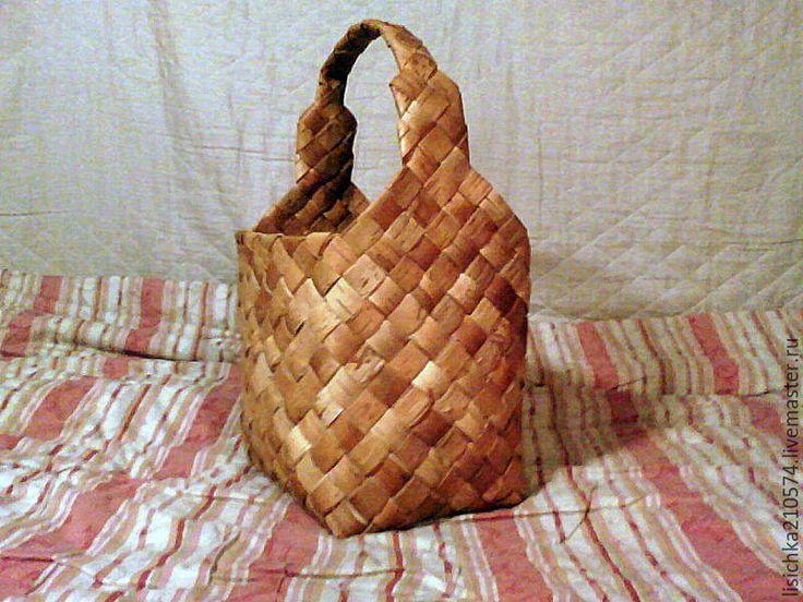 Купить Корзина из бересты (средняя) - бежевый, береста, изделия из бересты, природные материалы, своими руками
