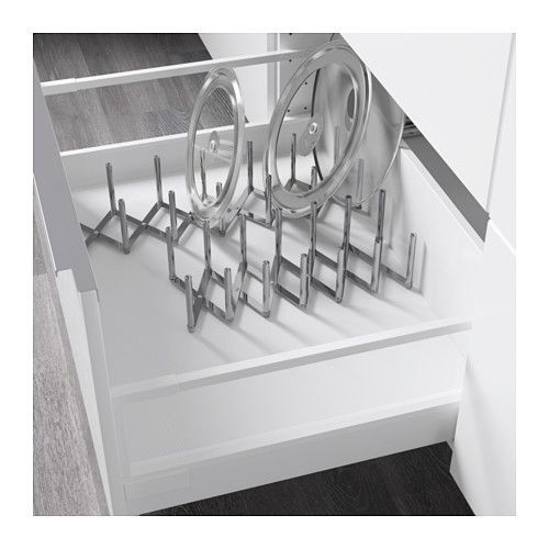 VARIERA Pot lid organizer IKEA You can customize the length based on your storage needs.