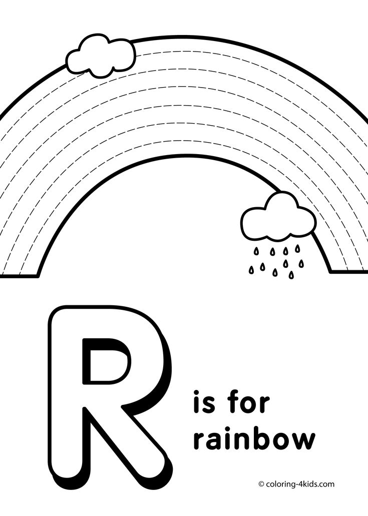 Letter R coloring pages alphabet