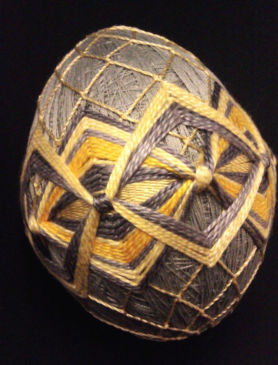 Grey and Yellow EggShaped Temari by Every1LovesKristi on Etsy, $35.00