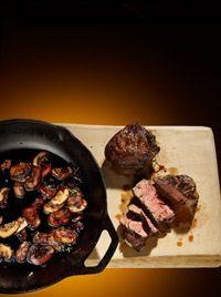 Sirloin w/Red Wine Mushroom Sauce. Serve with roasted potatoes & ceasar salad