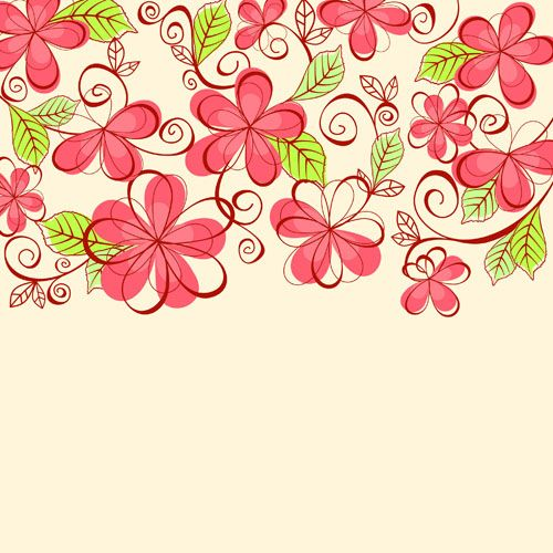 Set of Floral patterns elements vector 04