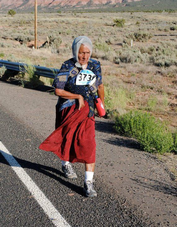 running grandma | traditional Grandma running on the Navajo reservation.  Awesome!