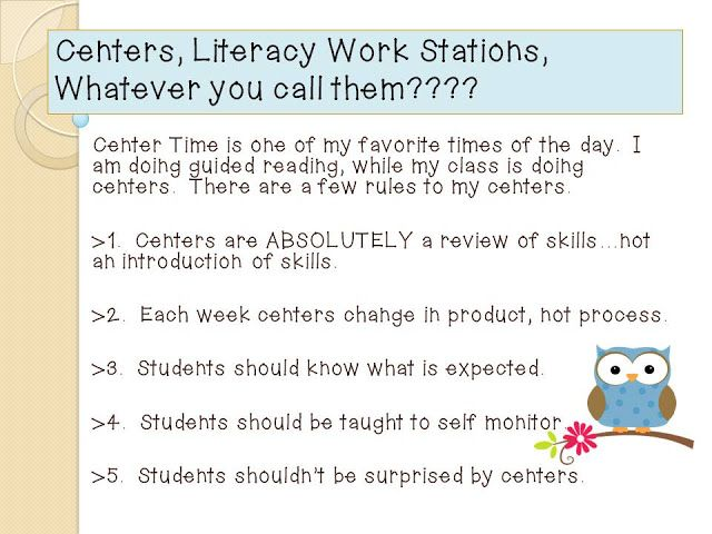 The W.I.S.E. Owl : Rules for Centers, Literacy Work Stations, or What...