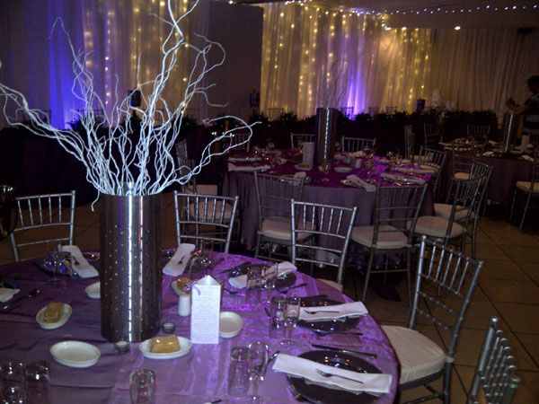 Stainless steel tube with white willow sticks www.iceevents.co.za