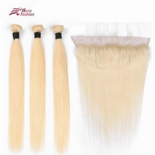 Pure 613 Hair Wefts 3 Bundle with 13*4 Ear to Ear …