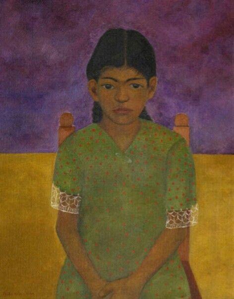 Portrait of Virginia, 1929, maker Frida Kahlo. De achtergrond is erg simpel waardoor het meisje erg mooi uitkomt. Er zitten niet echt veel details in, maar als je naar de mouwen kijkt zie je da die gedetailleerd zijn, de voor ons rechter mouw lijkt langer te zijn dan de voor ons linker mouw. Op het meisje en de stoel zie je een beetje schaduw. Haar linker oog zit iets hoger dan der rechter oog.