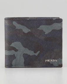 Prada Saffiano Bi-Fold Wallet Blue Camo