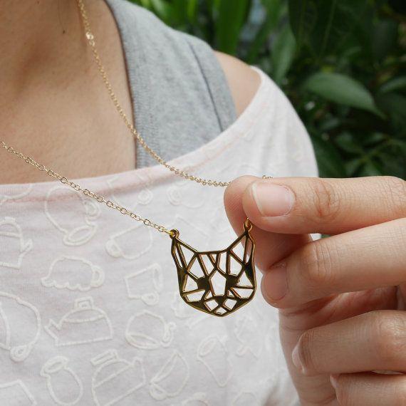 Glorikami Cat face Necklace : Handmade Jewelry Design: Origami Collection: Cat…