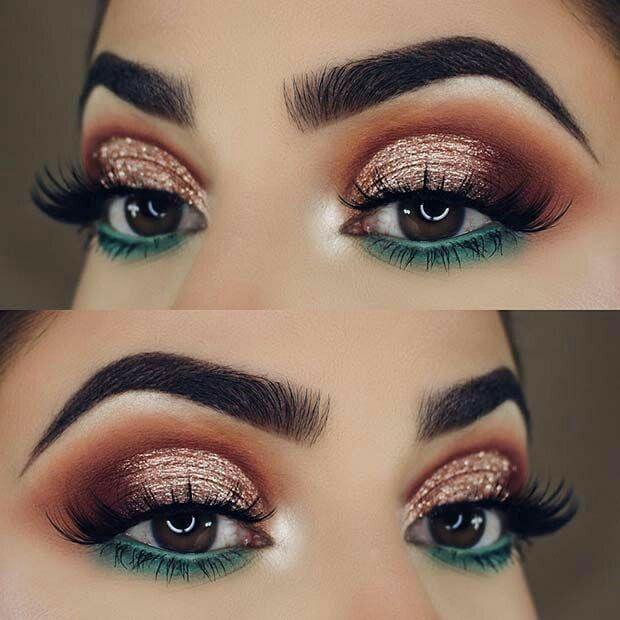 Teal Blue Green Under Eye Makeup Lower Lid Orange Red Halo Sparkly