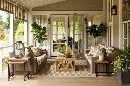 36 Amazing Screened Patio And Porch Décor Ideas : Beautiful Patio With Warm Patio Furniture Color Design
