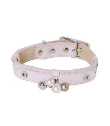Collar piel rosa con perlas