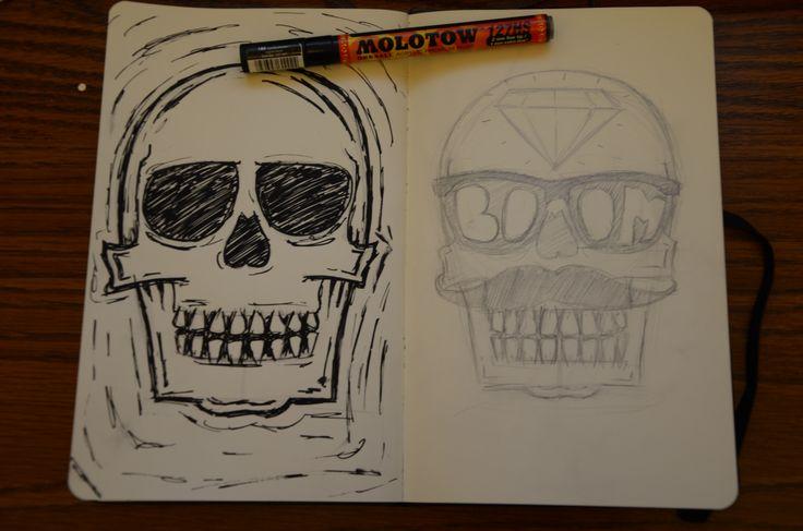 skull sketches // glasses mustache diamond molotow moleskine