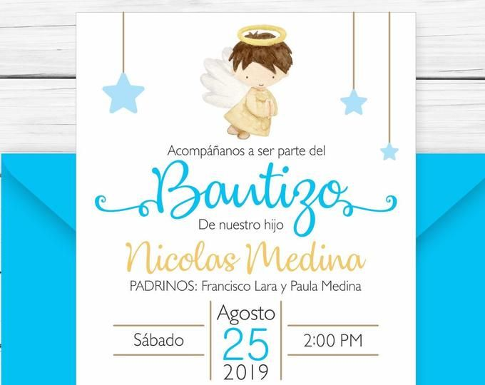 Baptism Invitation In Spanish Printable Boy Invitacion