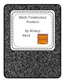 Math Vocabulary Freebie!