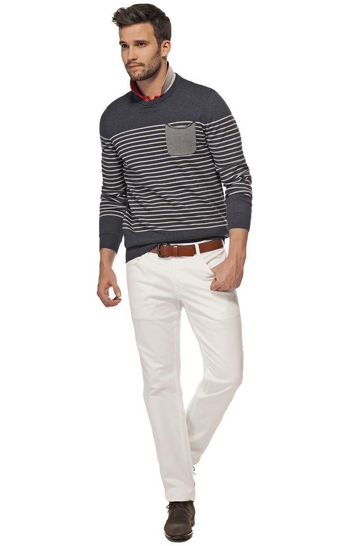 Pull rayé à encolure ronde avec poche / Striped crew neck sweater with pocket  https://www.tristanstyle.com/en/men/looks/5/hv040d0697zbl51/