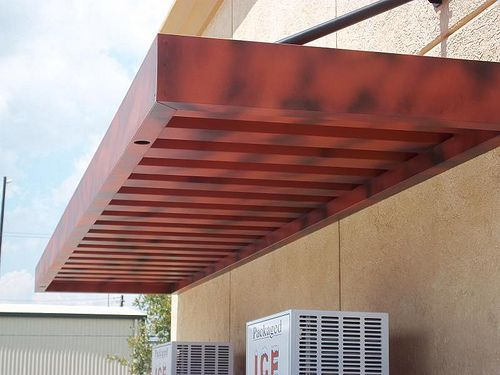 Extruded Aluminum Awnings With Overhead Supports For Shell