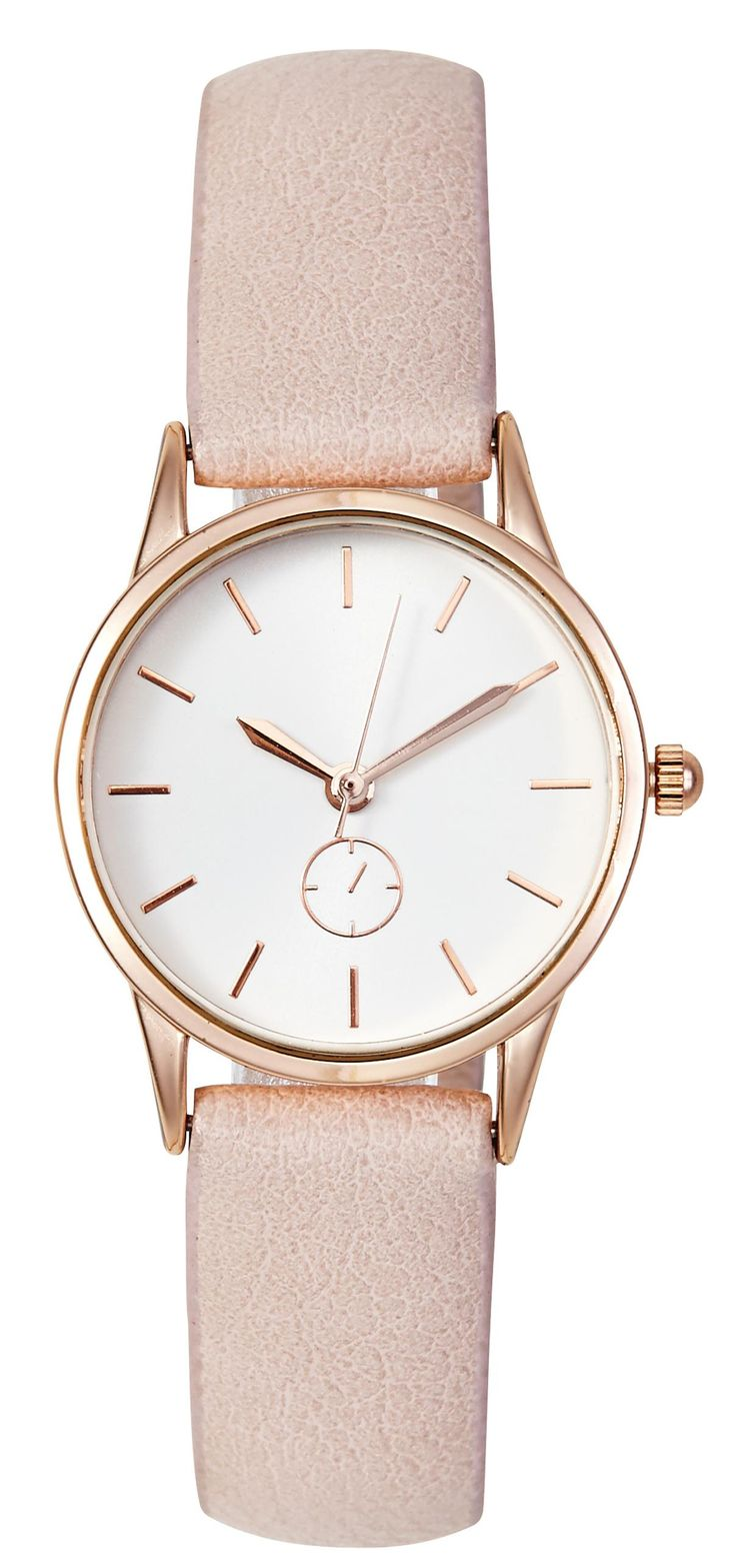 Gold-tone watch with a white face and a pink-coloured faux leather strap.