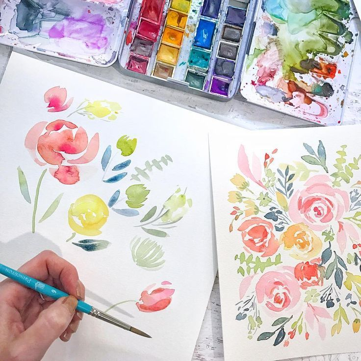 Watercolor Flower Tutorial - Natalie Malan Pinners Conference - Watercolor DIY Watercolor Floral Flowers Tattoo Paintings Tutorial