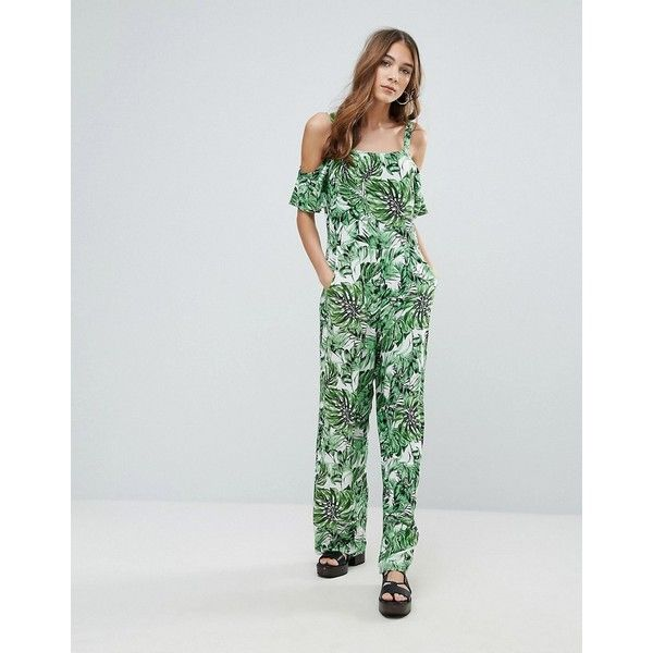 QED London Cold Shoulder Tropical Print Jumpsuit (255 HKD) ❤ liked on Polyvore featuring jumpsuits, multi, jump suit, tropical print jumpsuit, zipper jumpsuit, cold shoulder jumpsuit and tall jumpsuit