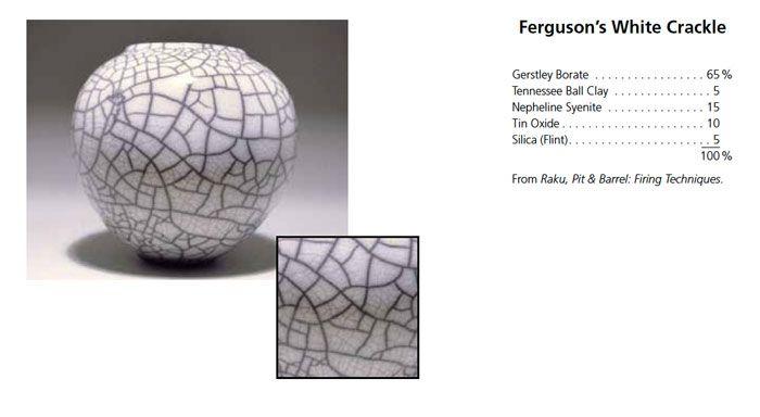 Raku glaze recipe: Ferguson's white crackle. 65% Gerstley Borate, 5% Tennessee Ball Caly, 15% Nepheline Syenite, 10% Tine Oxide and 5% Silica (Flint).