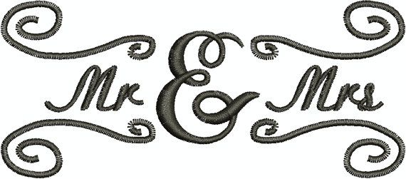 Mr & Mrs  Digital Embroidery Design by EmbroideryDesignsBRN